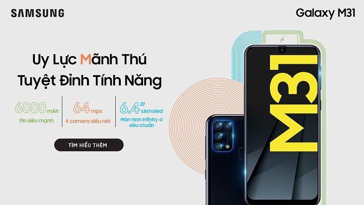 Galaxy M31 pin 6.000mAh chính thức ra mắt tại Việt Nam với giá 6,49 triệu đồng