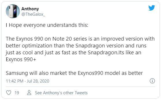 Chip Exynos 990 trên Galaxy Note20 sẽ có sức mạnh tương đương Snapdragon 865+?