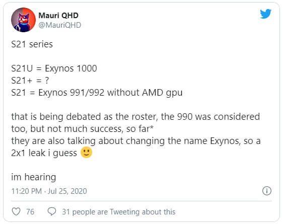 Tin đồn: Chỉ có Galaxy S21 Ultra được trang bị Exynos 1000, còn Galaxy S21 dùng chip yếu hơn