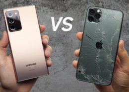 Galaxy Note20 Ultra bền hơn hẳn iPhone 11 Pro Max trong thử nghiệm thả rơi