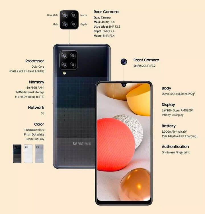 Samsung ra mắt Galaxy A42 5G: Snapdragon 750G, pin 5.000mAh, giá chỉ 455USD