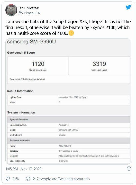 Samsung Exynos 2100 lộ thông số kỹ thuật và điểm hiệu năng bỏ xa Snapdragon 875